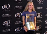North Rockland track start Katelyn Touhy was surprised this morning when she was presented with the Gatorade Player of the Year Award.