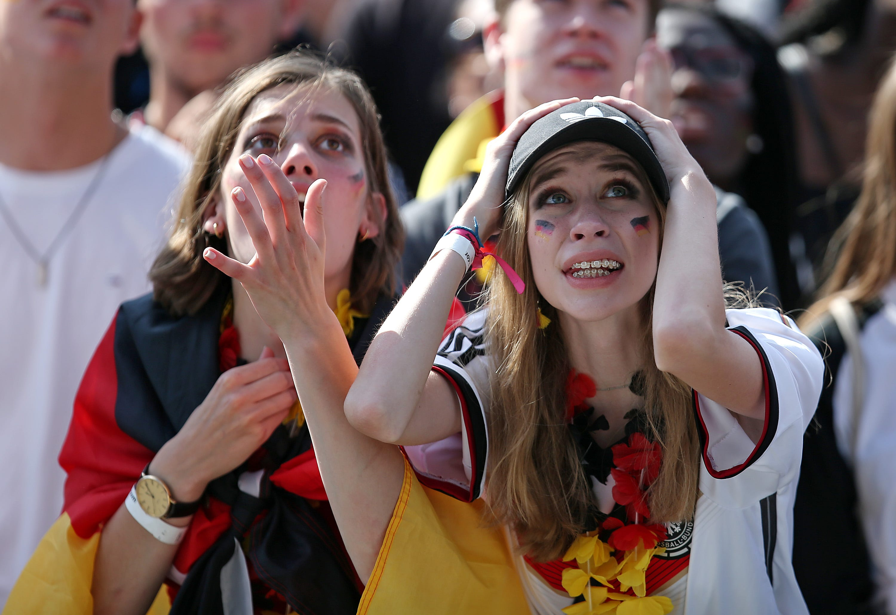 Fans of Germany are disappointed after watching the 2018 FIFA World Cup Russia Group F match between Korea Republic and Germany at the FIFA Fan Fest Heiligengeistfeld in Hamburg, Germany.