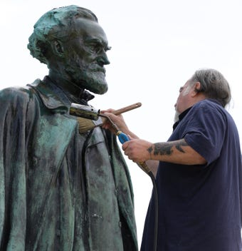 The Carl Shurz and Hiker statues are being cleaned and preserved with funds from the Hicks Trust.