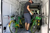 LimeBike operations manager Aaron Brukman shows us how the company takes care of and strategically places the bikes around Reno.