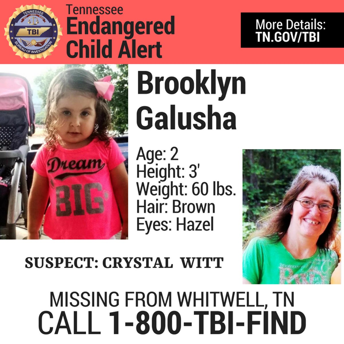 Tennessee missing child alert issued for Brooklyn Jade Galusha