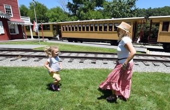 A full Steam Into History train made a stop at the Hanover Junction train station Sunday under a blue sky for a BYOPicnic with Bluegrass Music.