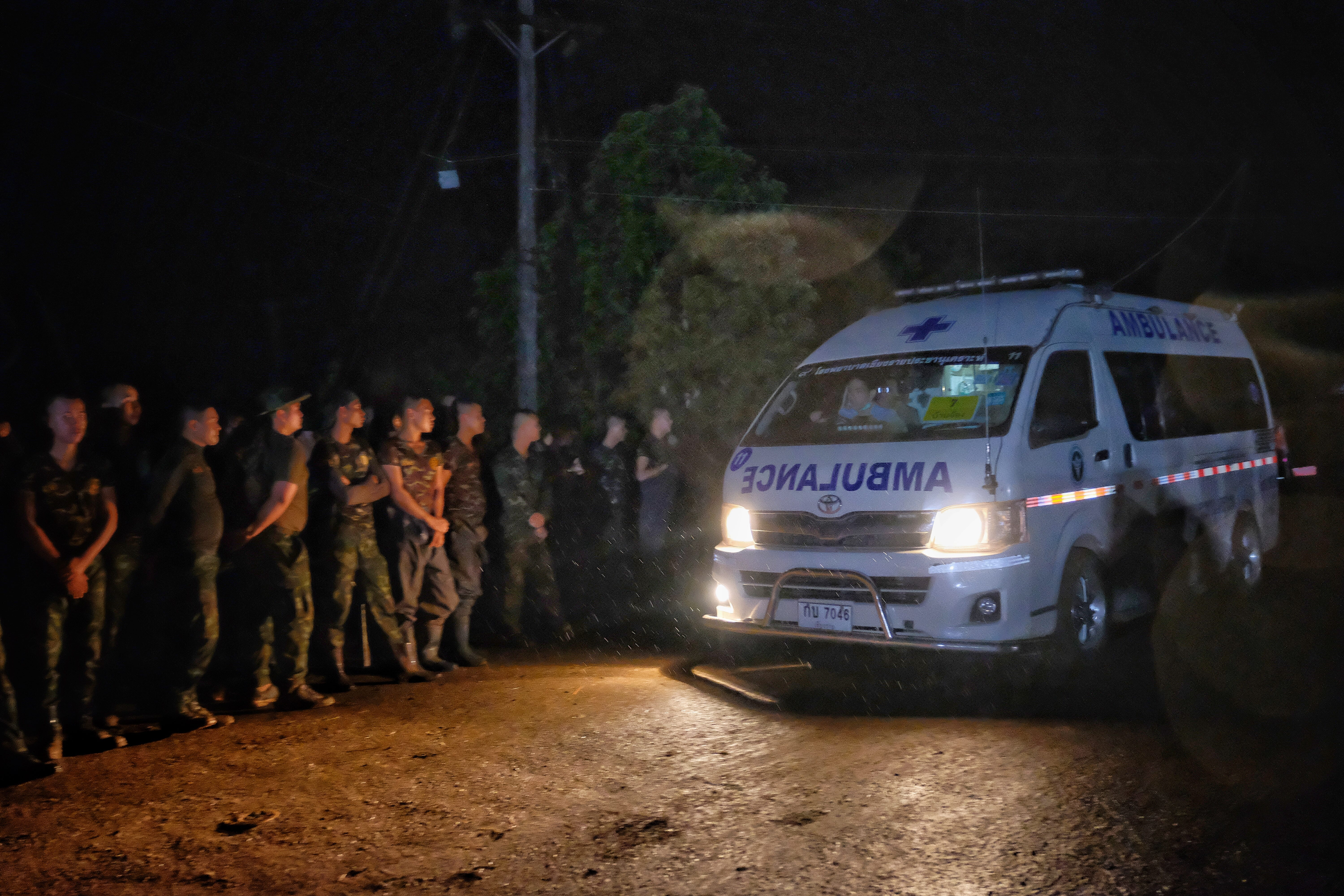 Ambulances transport boys rescued from the Tham Luang Nang Non cave to a hospital on July 8, 2018 in Chiang Rai, Thailand.  Elite divers on July 8 began the extremely dangerous operation to extract 12 boys and their football coach who have been trapp