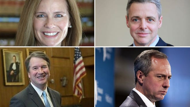 These four judges are believed to make up President Donald Trump's short list to replace retiring Supreme Court Justice Anthony Kennedy. They are, clockwise from the top left, Amy Coney Barrett, Raymond Kethledge, Brett Kavanaugh and Thomas Hardiman.