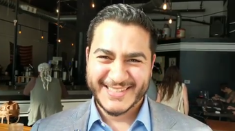 Democratic candidate for governor Abdul El-Sayed talks with The Detroit News at Dessert Oasis Coffee Roasters.