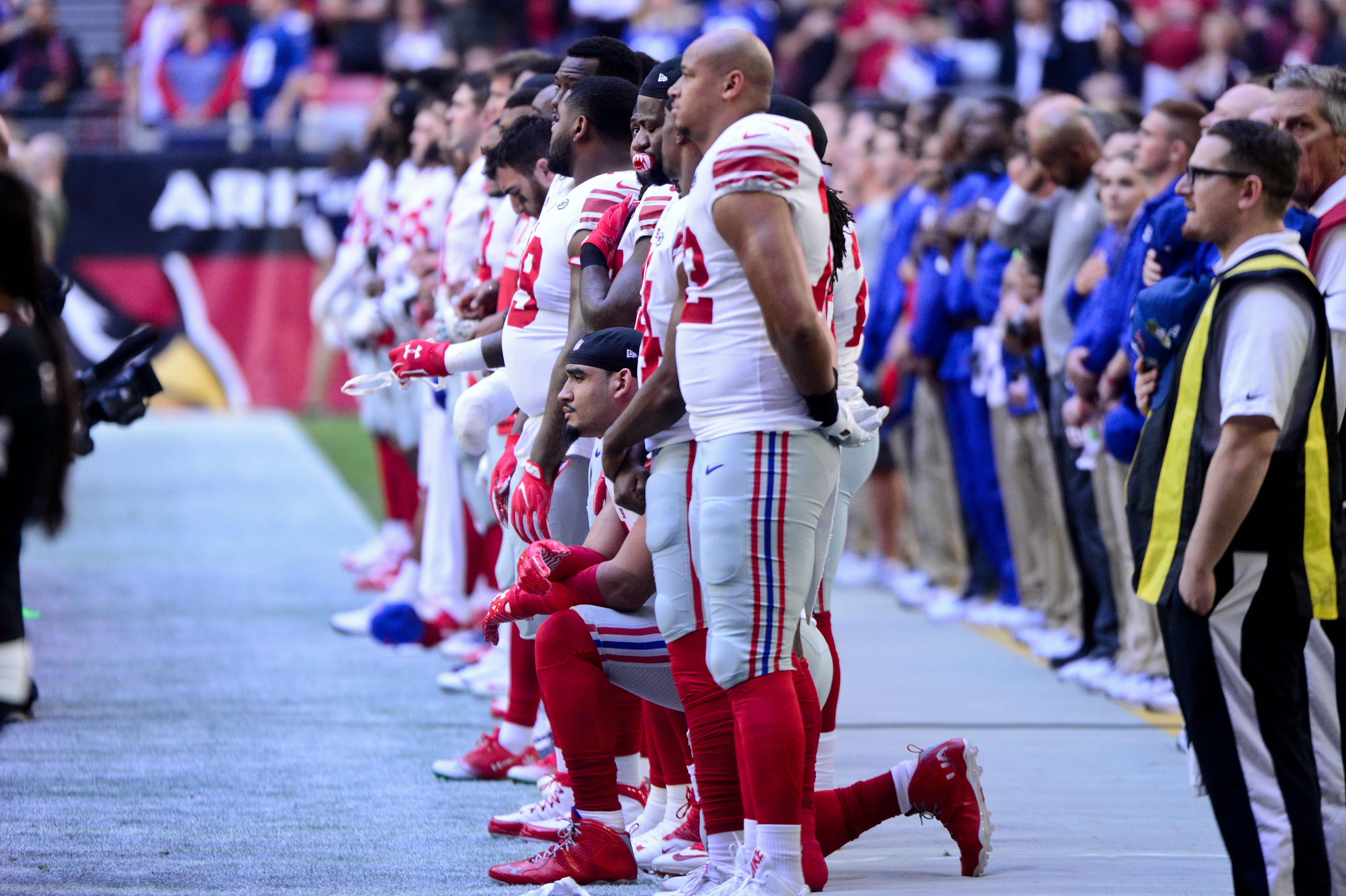 New York Giants players will not be punished for kneeling during national anthem