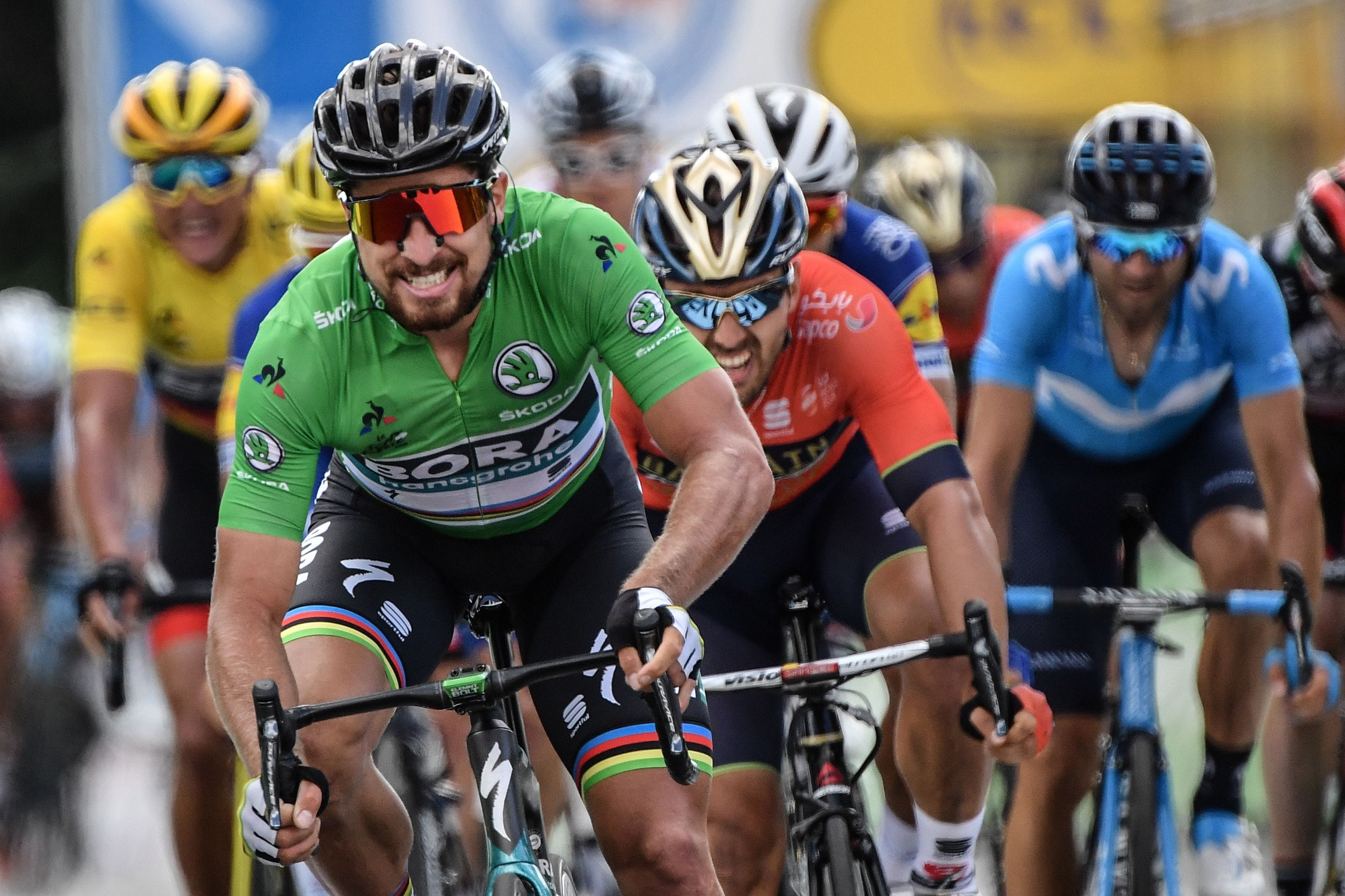 Slovakia's Peter Sagan celebrates after crossing the finish line to win the fifth stage of the 105th edition of the Tour de France cycling race between Lorient and Quimper, western France.