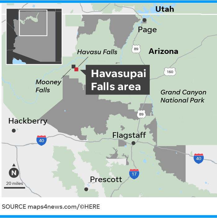 Supai Arizona Map.Havasu Falls Near Grand Canyon Flash Flooding Forces Hiker Evacuations