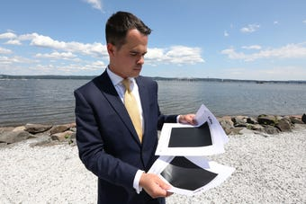 State Sen. David Carlucci and Assemblyman Tom Abinanti call on the state to end the ezpass cashless tolling contract with Conduent July 12, 2018.