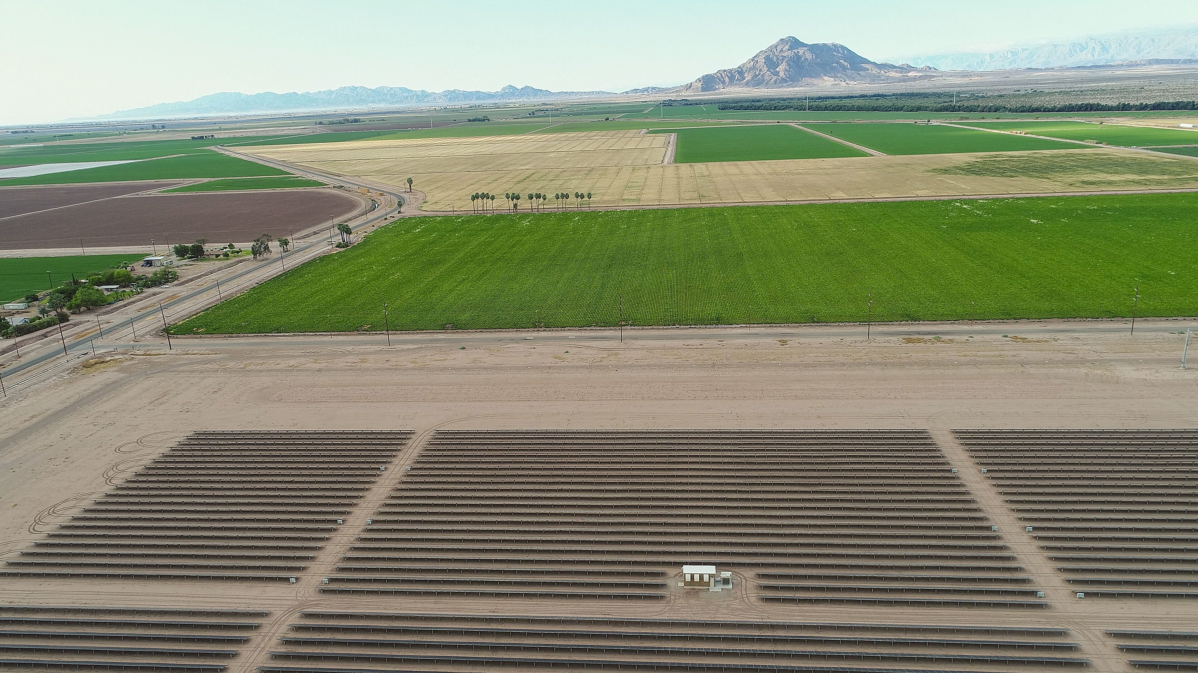 The Campo Verde solar project, seen from a drone, is adjacent to farmland owned by Mike Abatti. Mount Signal, in Mexico, looms in the background.