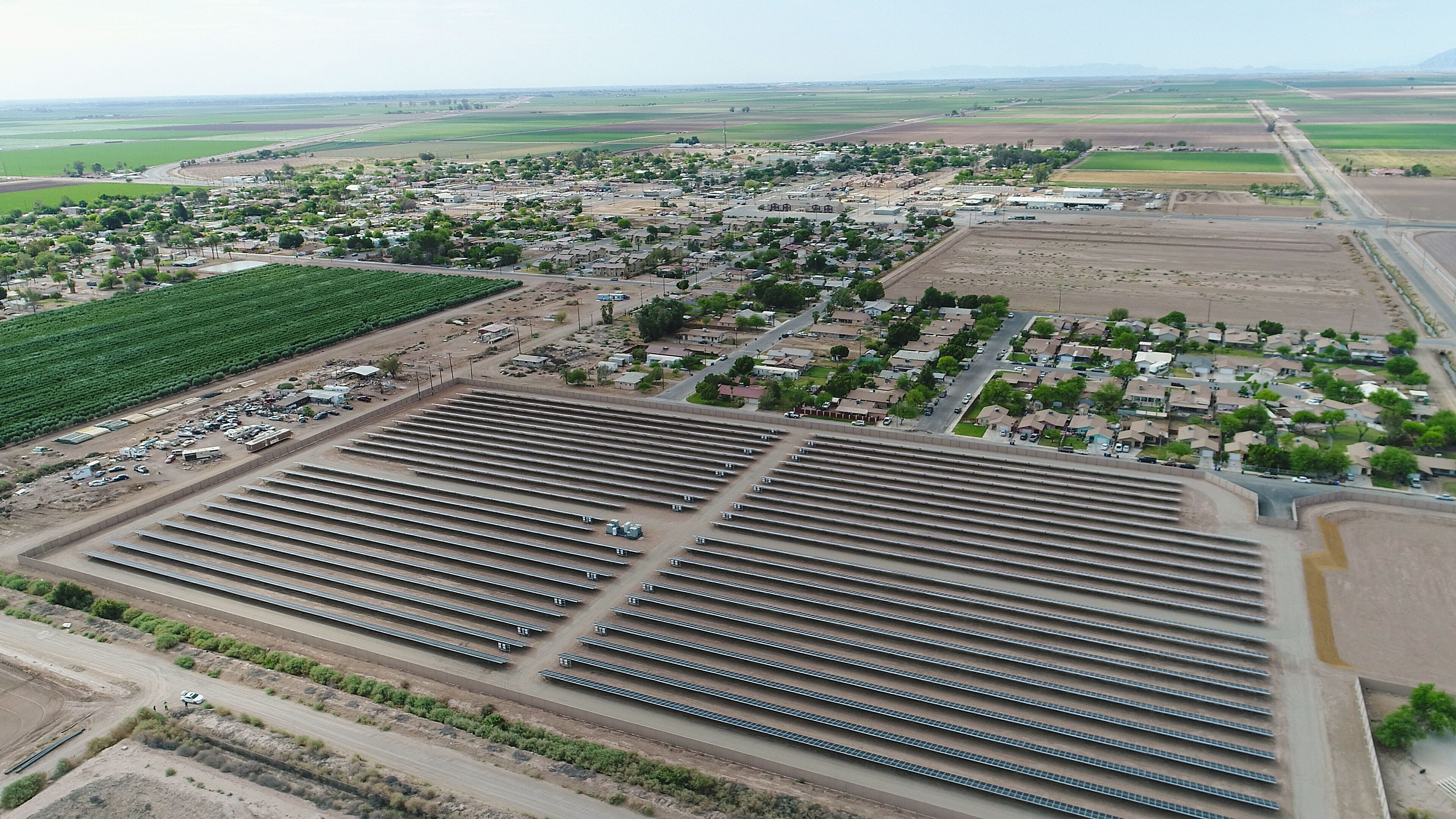 The Valencia 1 solar project, as seen from a drone, borders the city of Westmorland, California. Valencia 1 was developed by ZGlobal.