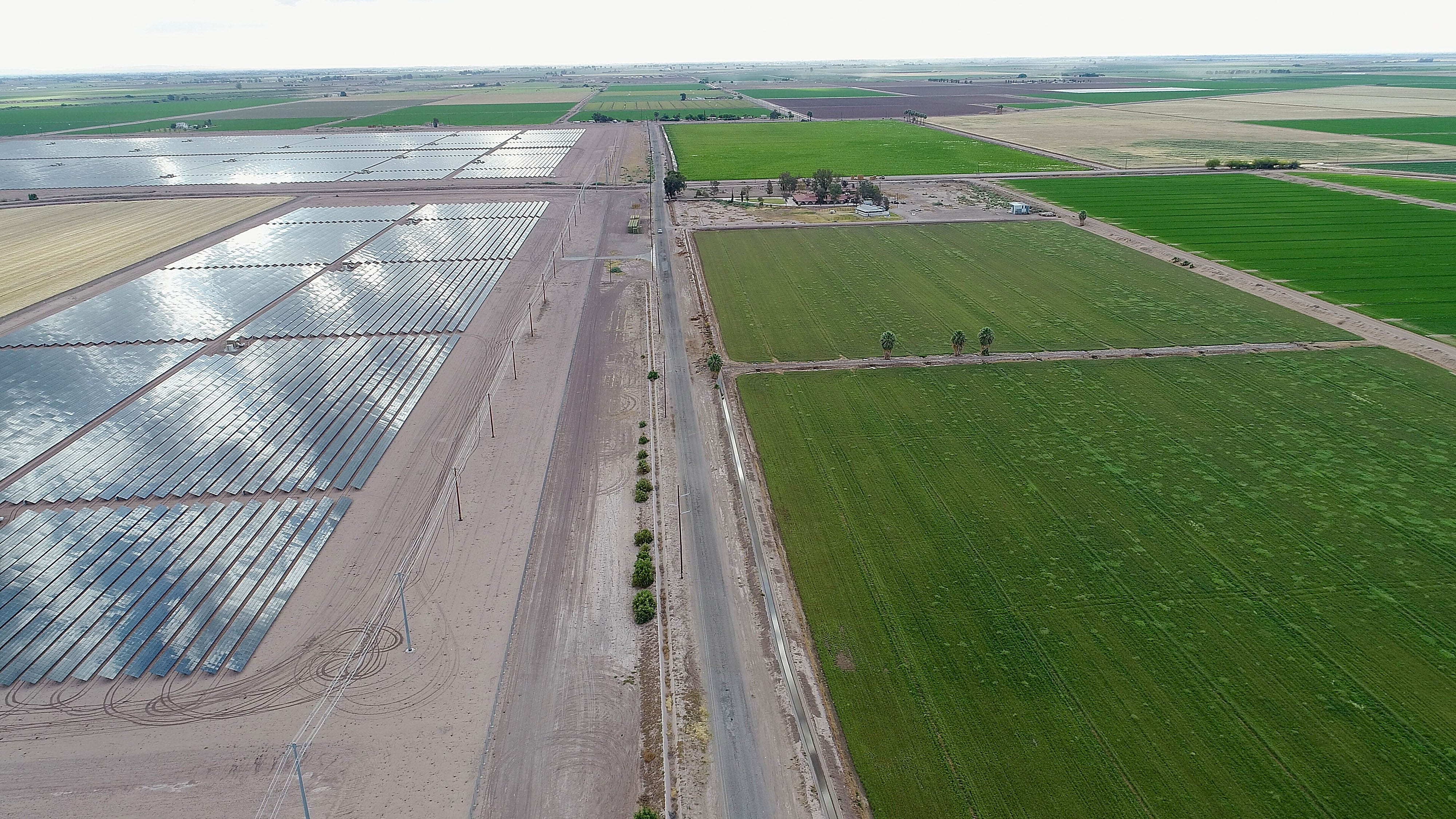 The Campo Verde solar project, seen from a drone, is adjacent to farmland owned by Mike Abatti. Abatti has plans to convert this farmland into the Vega SES solar project.