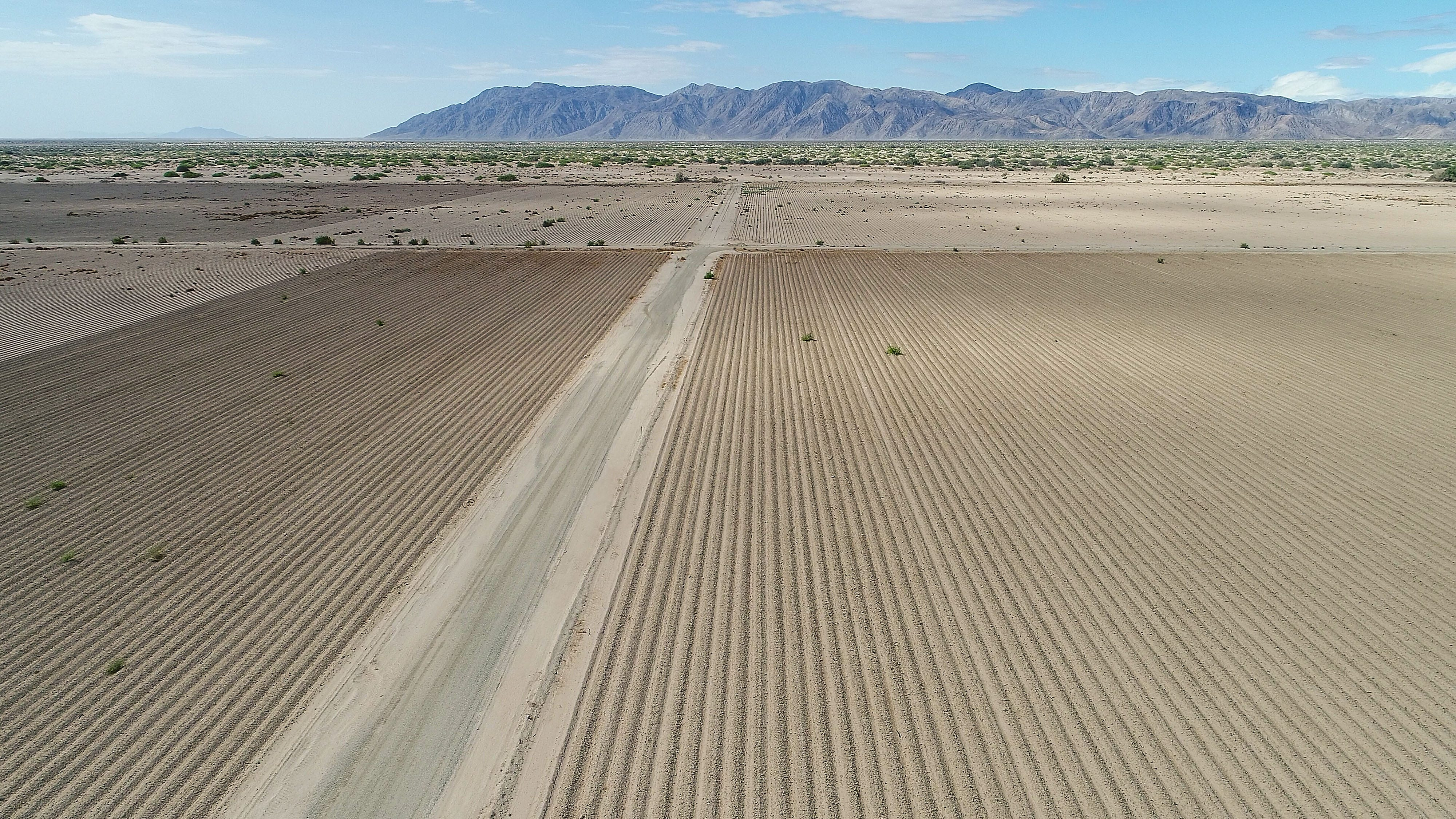 Undeveloped land at Allegretti Ranch in Imperial County, seen from a drone. The land was prepared for farming by Mike Abatti.