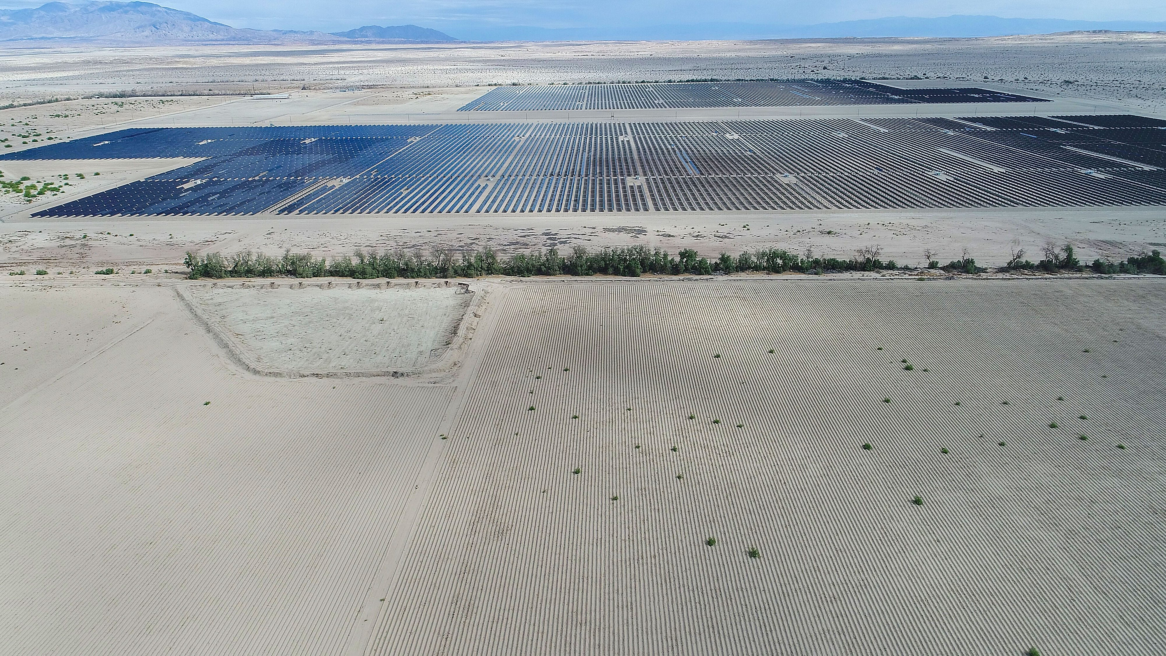 The Seville solar project at Allegretti Ranch, seen from a drone. The undeveloped land in the foreground was prepared for farming by Mike Abatti.