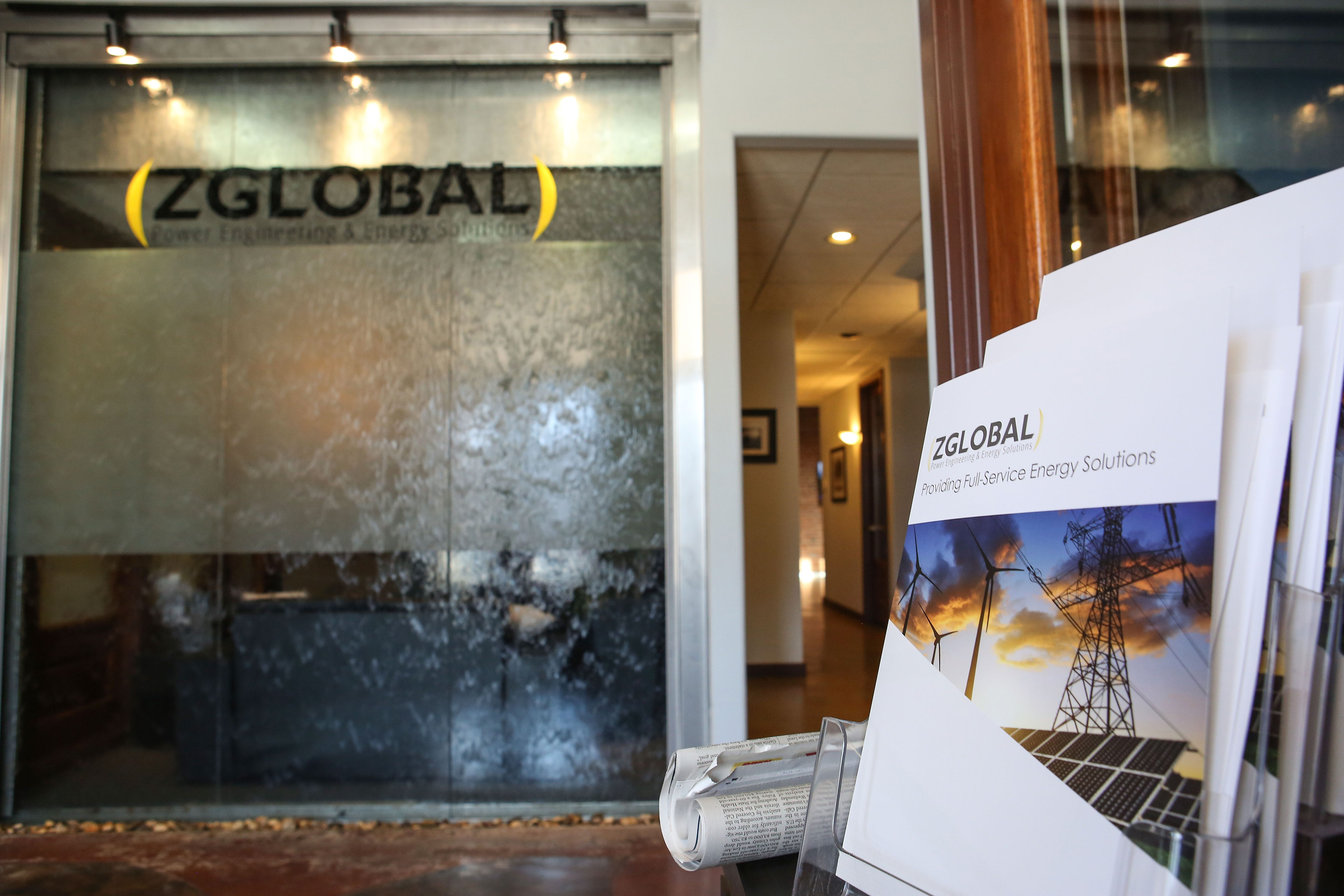 A waterfall flows in the lobby of ZGlobal's office in El Centro, California.