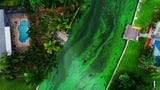 Aerial view of toxic algae bloom flowing in a canal Friday, July 14, 2018 in Cape Coral, Florida.