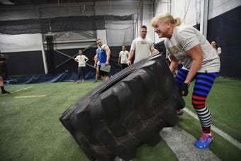 Participants are challenged  during the Workout For Warriors event, that is  supporting military veteran charities, at Freak Strength in Oakland on 07/15/18.