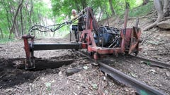 Watch big machines work on the Stewartstown Railroad saving man hours with tie replacement