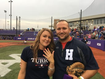 Harrisonburg Turks assistant George Laase  hit a home run with his first-pitch proposal Sunday night.