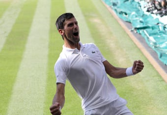 Novak Djokovic handled Kevin Anderson on Sunday, while Angelique Kerber upset Serena Williams on Saturday at Wimbledon.