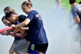 Franklin County Junior Firefighters had a break in training to cool off in an epic water battle.