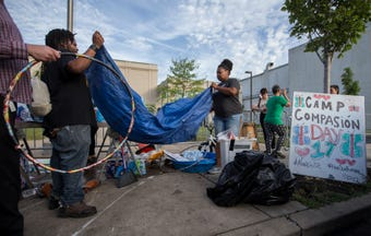 """Occupy ICE Louisville vacates its encampment at 7th and Broadway after police came to """"enforce compliance."""""""