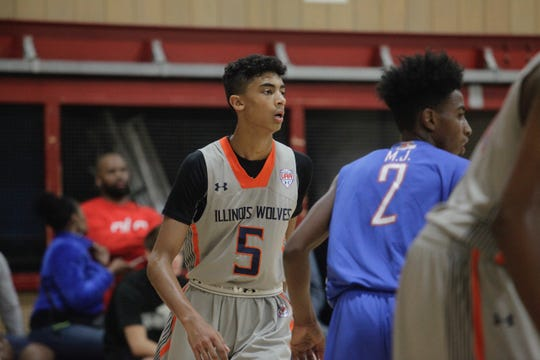 Class of 2021 guard Max Christie (5) looks to his left during a game in 2018 at the NY2LA Summer Jam.