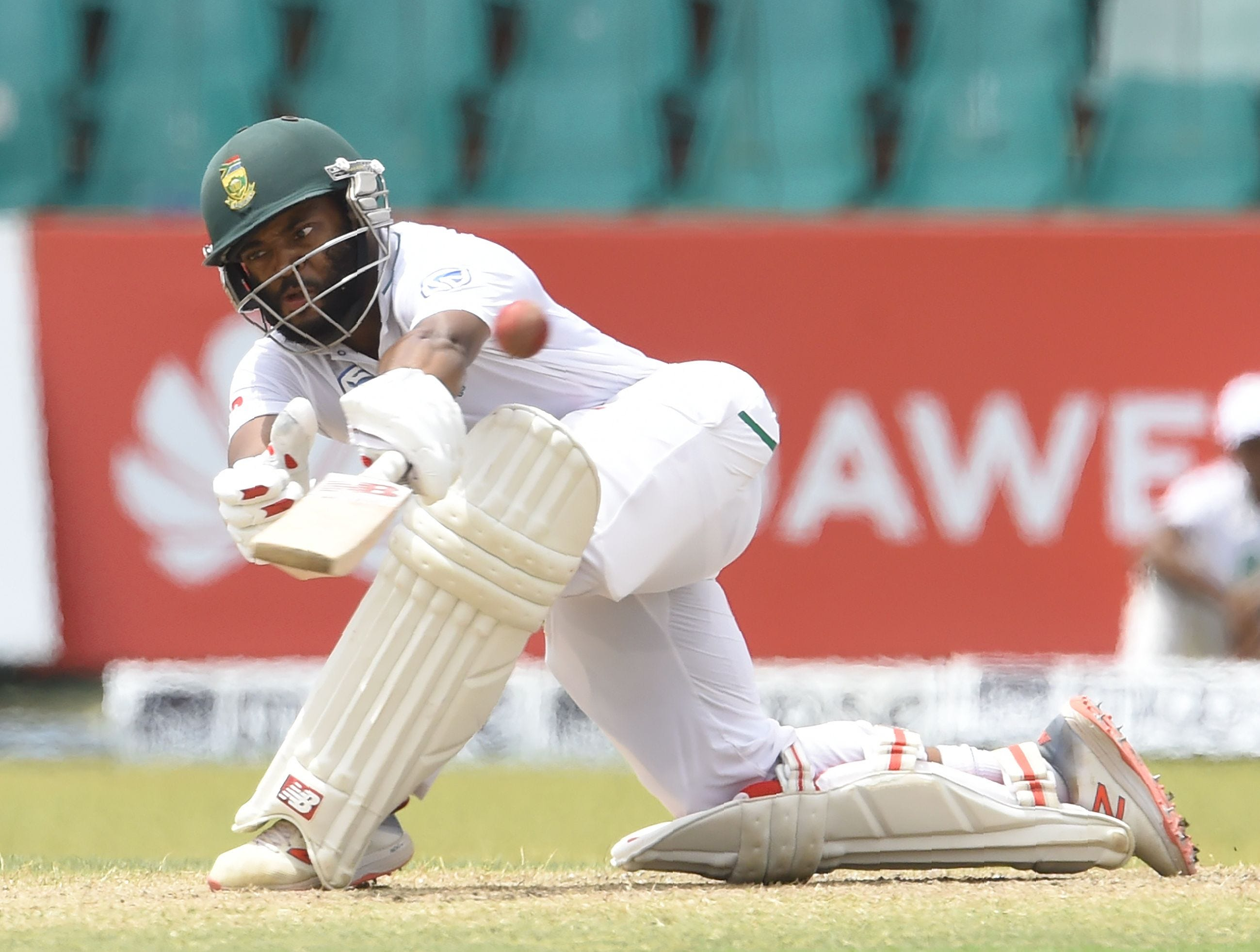 South Africa's Temba Bavuma plays a shot during the fourth day of their second Test match between Sri Lanka and South Africa at the Sinhalese Sports Club (SSC) international cricket stadium in Colombo, Sri Lanka.
