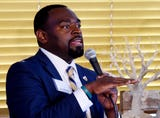 Shreveport Mayoral Candidate Steven Jackson speaks during the 2018 Mayoral Candidate Young People Forum Tuesday evening at The Agora Borealis.