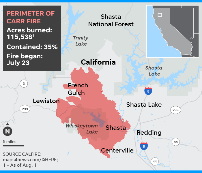 Ferguson Fire California Map.Carr Fire 1 000 Homes Destroyed As California Fire Rages On