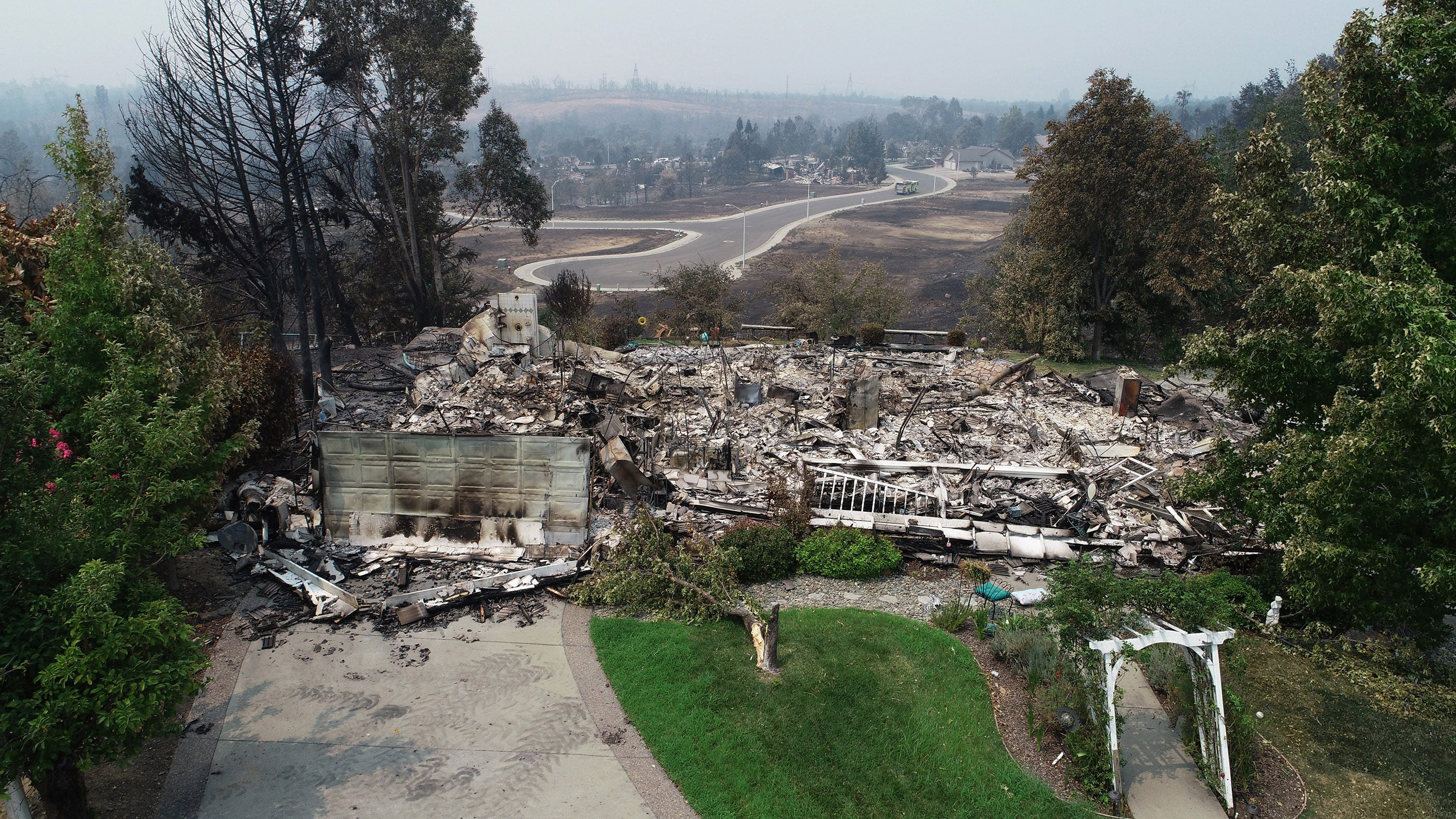 A home in the River Ridge Park subdivision  in Redding, Calif. on Aug. 1, 2018, was destroyed by the Carr Fire.
