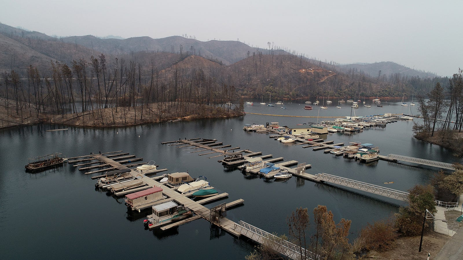 Damage from the Carr Fire is seen at Oak Bottom Marina Wednesday August 1, 2018. Several boats were affected by the fire when it rolled through the area late last week.
