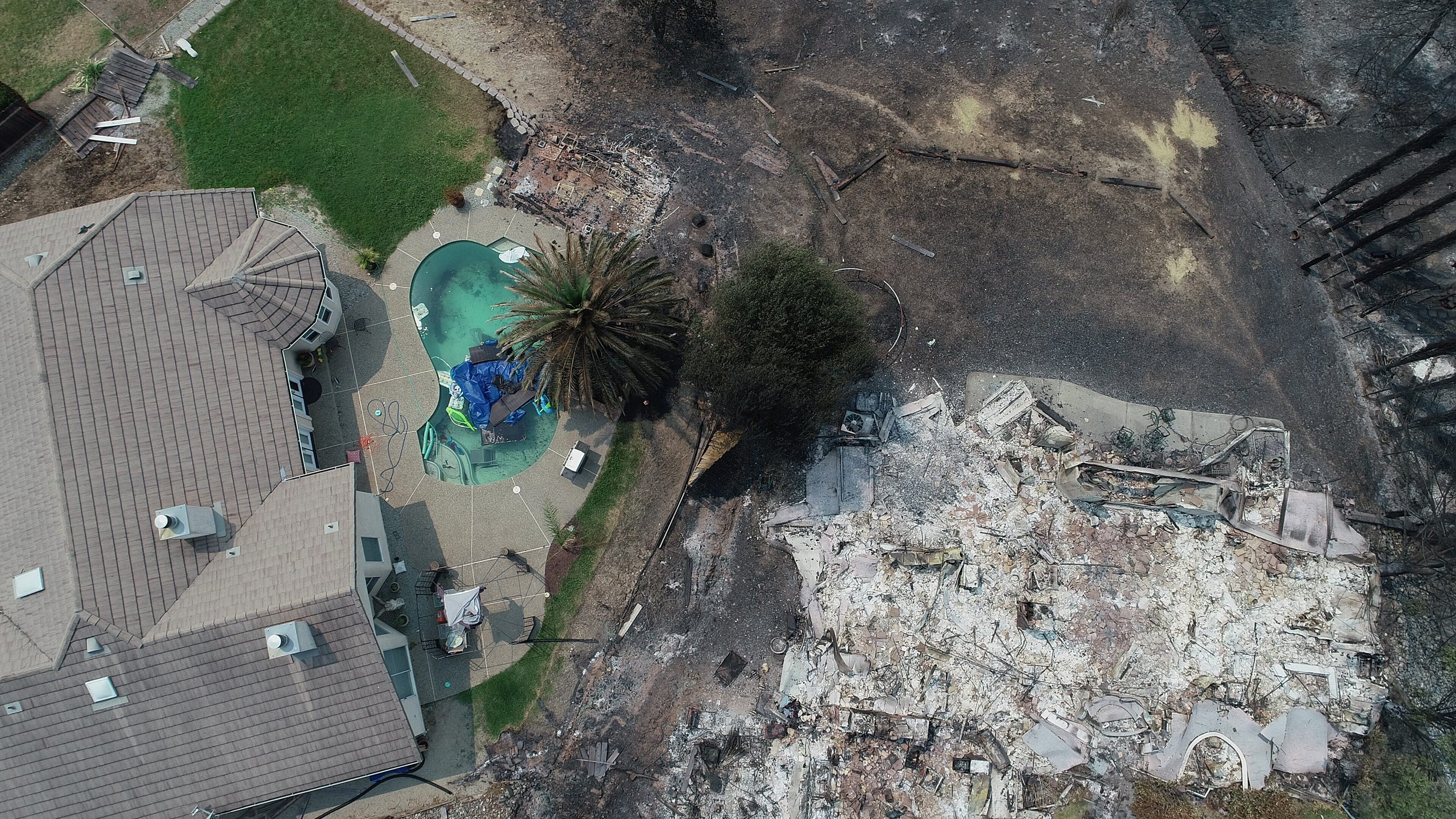 Drone aerials show California wildfire devastation from above