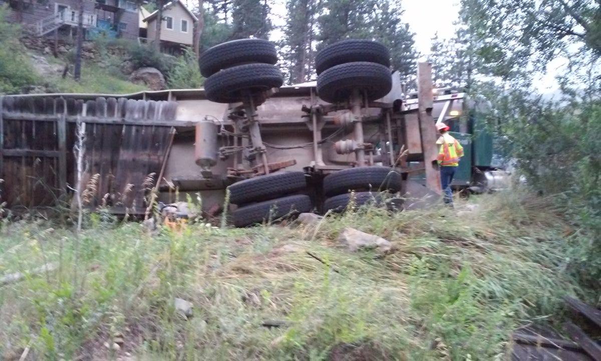 Tanker rolls over, spills fracking water in Poudre Canyon in