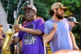 Robert Hughes, known to Asheville as Bobby Sax, has entertained at McCormick Field for a decade.