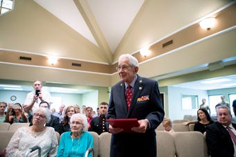Edgar Harrell survived the sinking of the USS Indianapolis in 1945 and now lives in Clarksville.