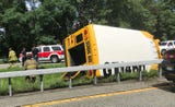 A school bus rolled over into the center median on the Hutchinson River Parkway near Manhattanville Rd in Purchase Aug. 14, 2018.