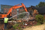 The Univ. of Nevada, Reno has begun demolition of eight homes on Evans Ave. on Aug. 16, 2018.
