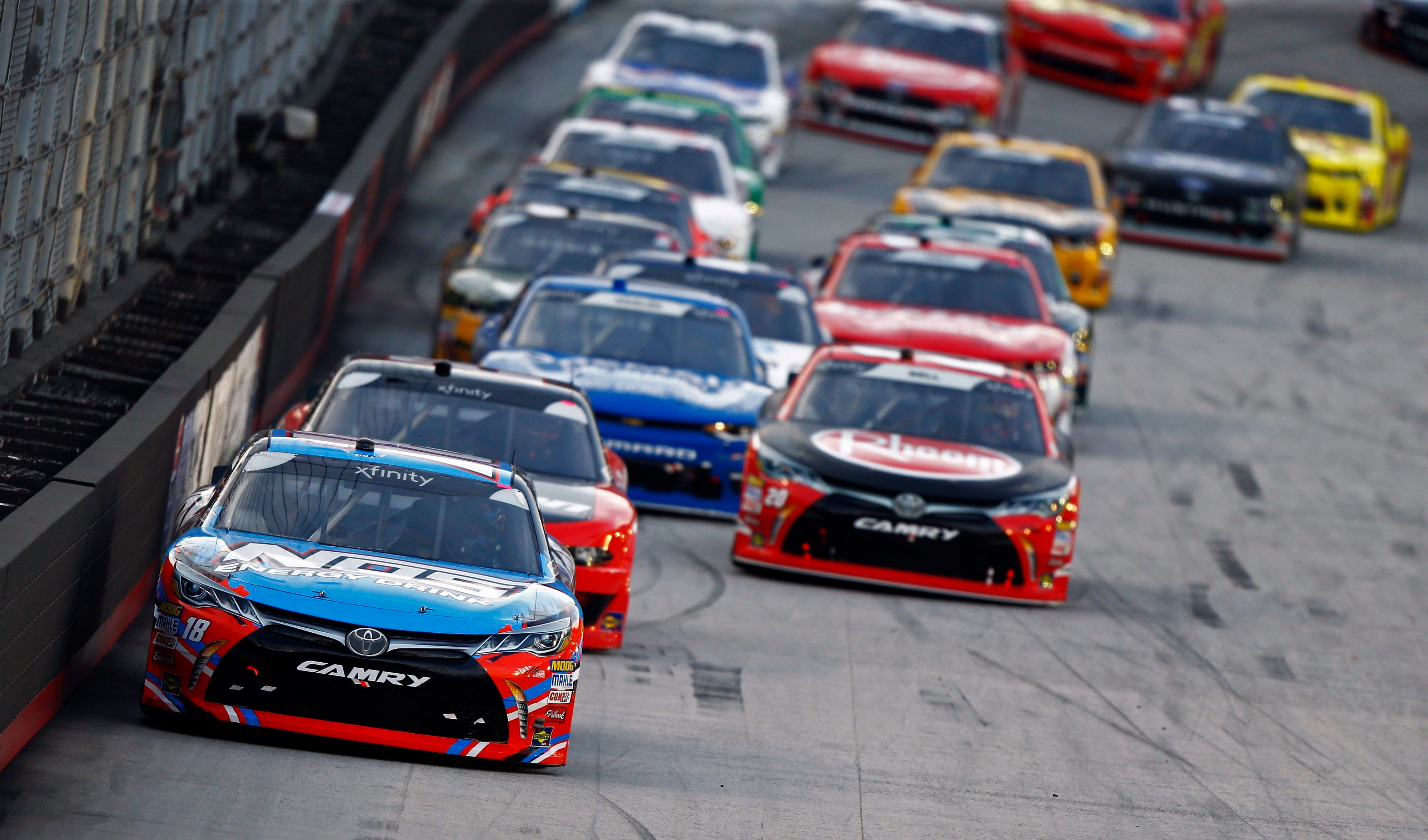 a990b21a1c2ad BRISTOL, Tenn. (AP) — Kyle Larson capitalized on Kyle Busch's early exit to  win the Xfinity Series race Friday night at Bristol Motor Speedway, ...