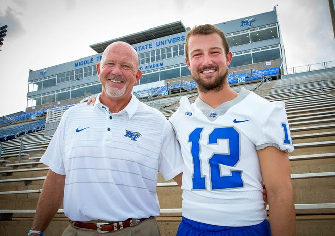 MTSU football coach Rick Stockstill and son Brent, the Blue Raiders' quarterback, are in their final season together as coach and player.