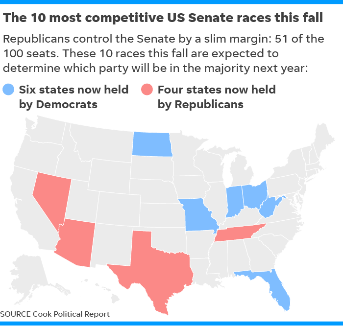 Map Of Us Senators.Florida Senate Race Bill Nelson Rick Scott Trade Last Minute Punches