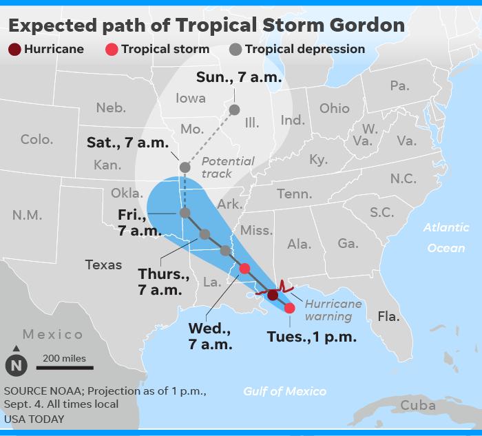Florida Panhandle Map.Tropical Storm Gordon Nears Hurricane Strength As It Roars Toward