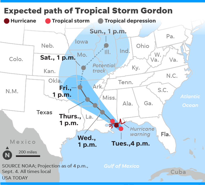 Map Of Texas Storms.Tropical Storm Gordon Makes Landfall Near Alabama Mississippi Border