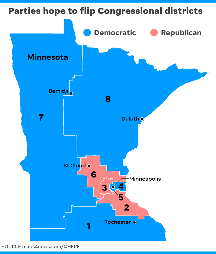 8th Congressional District Washington Map.Gop Sees Pick Up Opportunity In Minnesota Trump Country