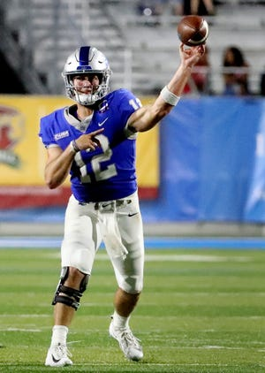 MTSU's quarterback Brent Stockstill (12) passes the ball during the game against UT Martin, on Saturday, Sept. 8, 2018.