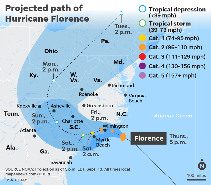 Hurricane Florence path: Storm surge, rain nears Carolina coast