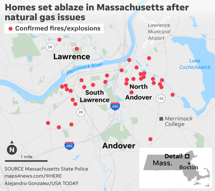 Gas fires in Andover, Lawrence, Massachusetts leave homes ablaze