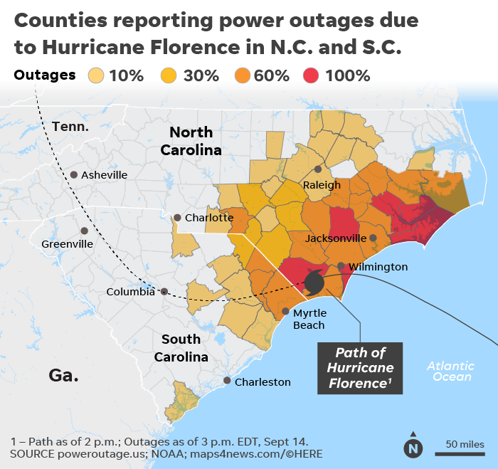 Power Outage Map Virginia Beach.Hurricane Florence Power Outages Top 890 000 Could Reach 3 Million