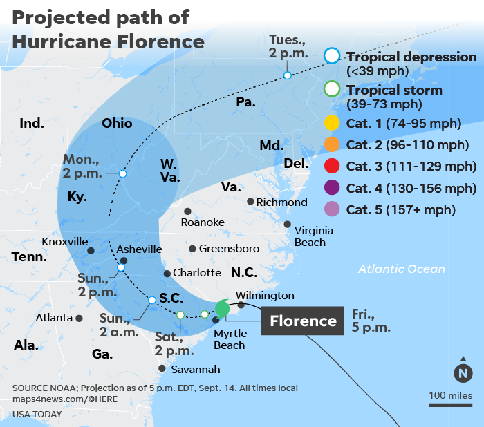 Hurricane Florence: 5 dead as storm makes landfall in North