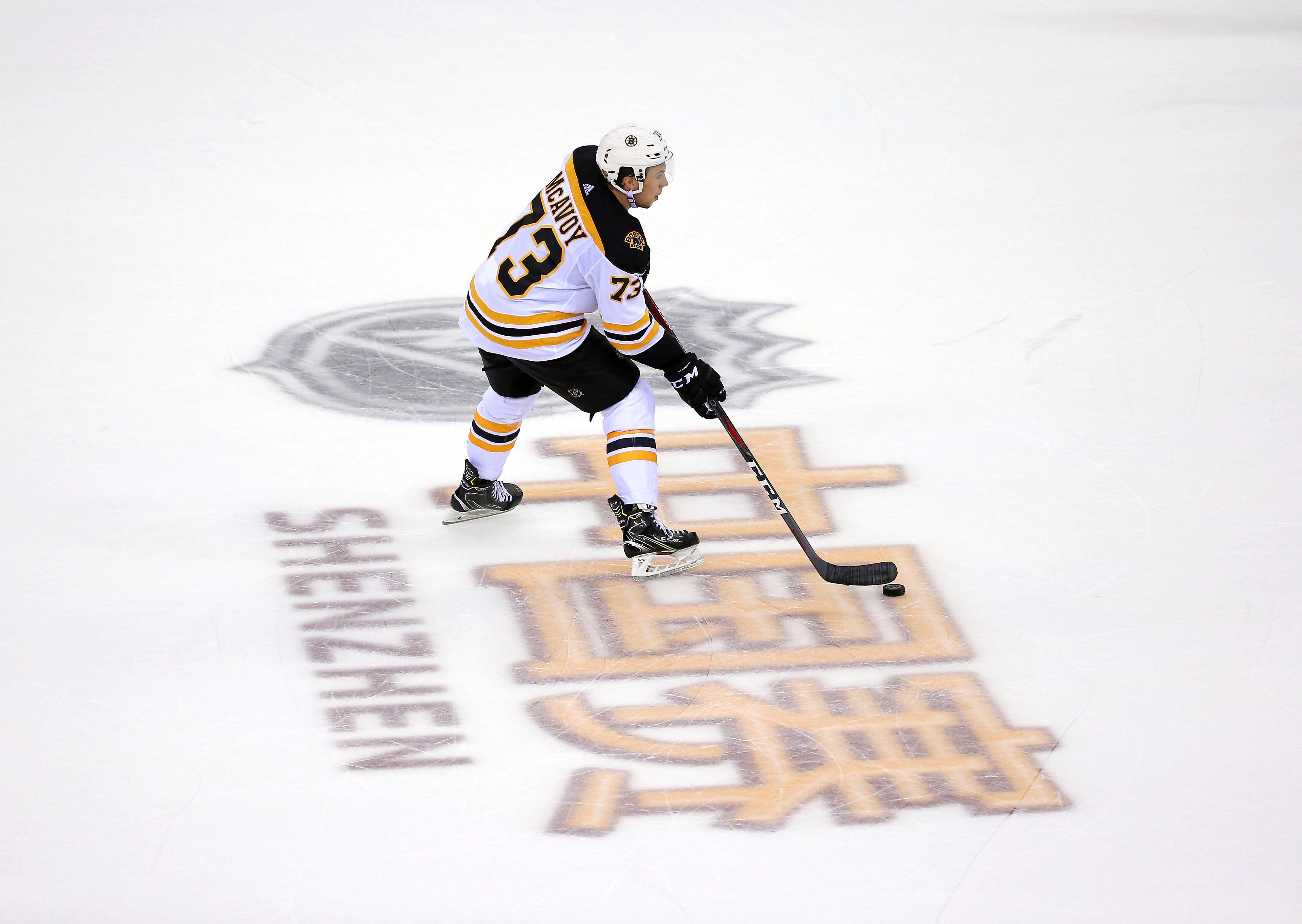 Bruins top Flames 4-3 in NHL preseason opener in China